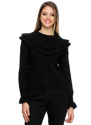 Endless Rose Uzun Kollu Volanlı Bluz Siyah